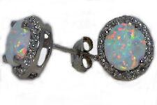 Opal 6mm & Diamond Round Stud Earrings 14Kt White Gold