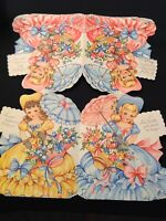 #1040🌟Vintage 1940s Childrens 4-PANEL SOUTHERN BELLES Girls B-Day Greeting Card