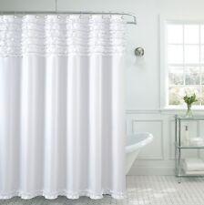 """Beverly Hills Ruffle Premium Quality Fabric Shower Curtain 70""""x""""72 White"""