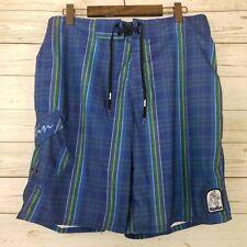 New listing *Flaw* Katin Mens Size 34 Blue Green Plaid Board Surf Swim Shorts Trunks Pants