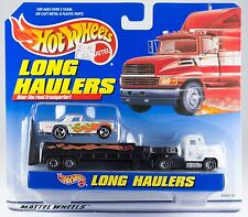 Hot Wheels Long Haulers Flatbed Transport Truck With White Car New On Card
