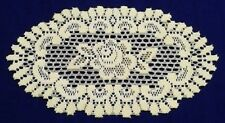 """Heritage Lace Set of (2) Two Ivory 7.75"""" x 13.5""""  Ivory Oval Alpine Rose Doilies"""