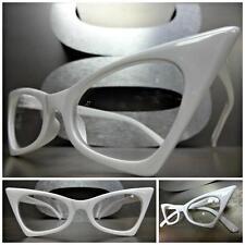 New CLASSIC VINTAGE 50's RETRO CAT EYE Style Clear Lens EYE GLASSES White Frame