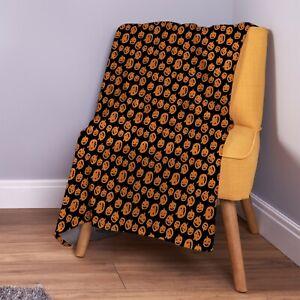 Orange Pumpkins All Over Halloween Design Soft Fleece Throw Blanket