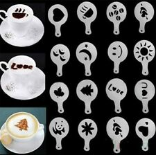 16 Cappuccino Coffee Barista Stencils Template Strew Pad Duster Spray Tools mold