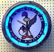 "16"" Plymouth Road Runner Sign Single Neon Clock Mopar Roadrunner"