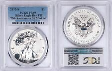 2012-S Reverse Proof Silver American Eagle Dollar $1 PCGS PR69 ASE 75th Anniv.
