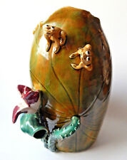 Vintage Green Vase Art Pottery Frogs Atop Lily Pad Vase