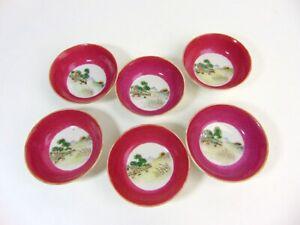 Six Cute Chinese Antique Porcelain Saucers, Qianlong Mrk,RepublicThe LAST BATCH
