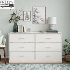 Classic 6 Drawer Dresser White Finish Storage Organizer Bed Furniture Clothes