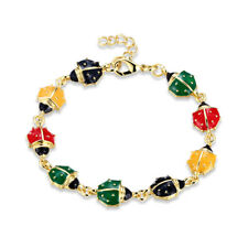 Gold Plated Bracelet adjustable Lady Bug Charm Multicolor Lobster Clasp L166