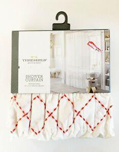 Threshold White Smocked Zig Zag Coral Orange Stitch Shower Curtain ~ Cotton