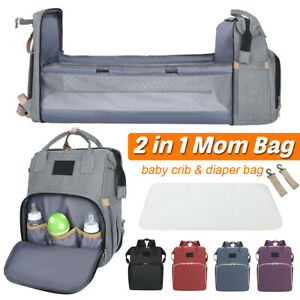 2 In 1 Diaper Bag With Baby Bed Crib Foldable Mummy Backpack Stroller HandBag