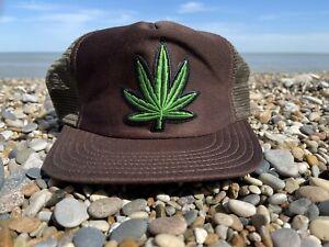 WEED MARIJUANA HAT CAP SNAPBACK BRONER MESH 80s Grateful Dead TRUCKER Hip Hop