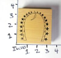 Wooden RUBBER STAMP RubberMoon Dave Brethauer Horseshoe Stars Moon Border