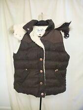 Ladies Gilet New Look size UK 6, EU 34 brown, hood w/faux fur trim, quilted 0750