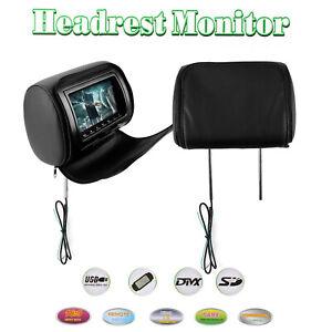 "Pair 7"" Headrest HD Car Digital Monitor Video USB TV HDMI Game  IR SD DVD Player"