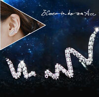 1pair Women 925 Sterling Silver Plated Asymmetry Lightning Crystal Stud Earrings