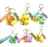 Pokemon Pikachu Squirtle Charmander Jigglypuff Psyduck Bulbasaur Figure Keychain