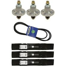 3 Blades 3 Spindles & 1 Belt Kit Fits John Deere LA130-165 D140-160 AM141035