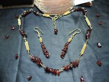 Gemstone GARNET nuggets NECKLACE & EARRINGS gold set MOTHER'S DAY GIFT BohoChic