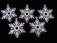 5 Pcs - Large Tibetan Silver Snowflake Charms 46mm Festive Xmas Jewellery C195