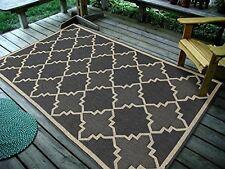 "4'5"" x 7' Contemporary Geometric Trellis, Charcoal Indoor & Outdoor Rug - 1095"