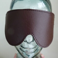 Large brown padded soft leather blindfold BL-62-LEATHER,FREE UK DELIVERY