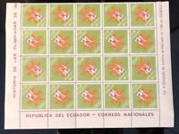 ECUADOR MINT STAMPS 1968 GRENOBLE OLYMPICS TETE BECH 20 SETS SHEET  NEW