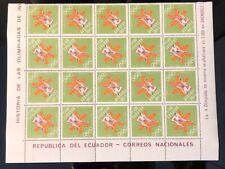 ECUADOR MINT STAMPS 1968 GRENOBLE OLYMPICS TETE BECH 20 SETS SHEET  NEW
