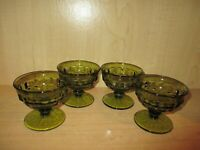 Set of 4 Glass Avocado Green Indiana Whitehall Cubist Footed Fruit Sherbets