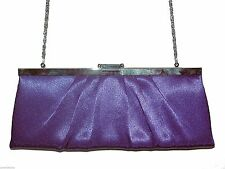 Clutch Purse Shoulder bag, Jessica McClintock, Purple Evening Satin Chain