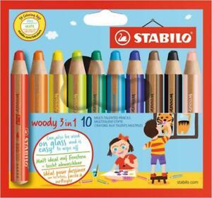 STABILO woody 3 in 1 Buntstift,Wasserfarbe,Wachsmalkreide 18,10,6 Etui Schpitzer