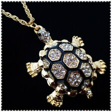 Betsey Johnson Crystal Sea turtle Pendant charm Sweater chain necklace gift W