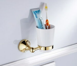 Wall Mount Bathroom Gold Color Brass Toothbrush Holder with 1 Ceramic Cup 2ba877