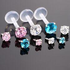 CZ Gem LIP RING LABRET MONROE Earring Stud Bioflex Piercing Bar 16G 5/16