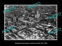 OLD LARGE HISTORIC PHOTO OF READING PENNSYLVANIA, AERIAL VIEW OF THE CITY c1940