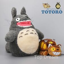 Studio Ghibli My Neighbor Totoro Cat Bus & Red Billed Totoro Plush Doll Toy 15''