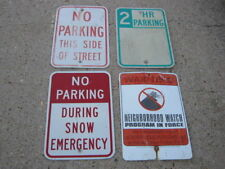 4 pc Used No Parking Snow Hr Parking Warning Neighborhood Aluminum Retired Signs