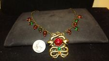 Rare Vintage Glass Charms Cabachons w/Coiled Snakes Necklace Haskell Vintage 50s