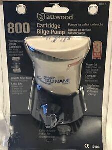 """Tsunami Cartridge Bilge Pump Attwood Marine 4608-7 GPH 800 Hose 3/4"""" 12V 2.5 NIB"""