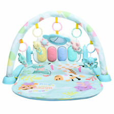 Baby Gym Play Mat 3-in-1 Fitness Music Lights Fun Piano Activity Center Blue