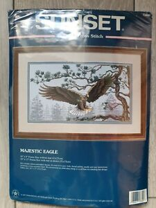 SUNSET Counted Cross Stitch Kit  -  MAJESTIC EAGLE   13640   Dimensions    NEW