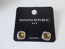 Earrings Nwot 16.9 ea Lot Of 6 Banana Republic Bronze Clear Crystal Square Stud
