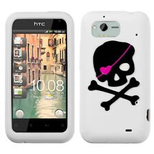 For Verizon HTC Rhyme Rubber SILICONE Skin Soft Gel Case White Black Skull