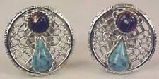 Vintage Cobalt & Turquoise Bead & Silvertone Earrings