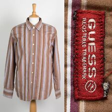 MENS GUESS BRAND SHIRT RETRO STRIPED PATTERN STRIPE WITH LAYERED PLACKET XL