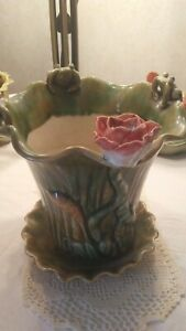 Antique Majolica Frogs and Lily Pond Planter Vase Flora Fauna