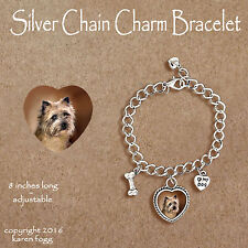 Cairn Terrier Dog - Charm Bracelet Silver Chain & Heart