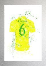 Roberto Carlos - Brazil Football Shirt Art - Splash Effect - A4 Size